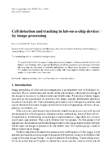 Cell detection and tracking in lab-on-a-chip devices by image processing