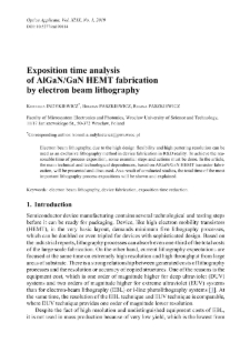 Exposition time analysis of AlGaN/GaN HEMT fabrication by electron beam lithography