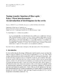 Tuning transfer function of fiber-optic Fabry-Pérot interferometer via introduction of birefringence in the cavity