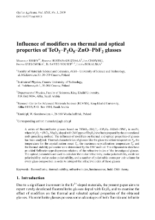 Influence of modifiers on thermal and optical properties of TeO2–P2O5–ZnO–PbF2 glasses