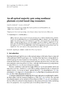 An all optical majority gate using nonlinear photonic crystal based ring resonators