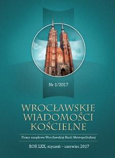 Wrocławskie Wiadomości Kościelne. R. 70 (2017), nr 1