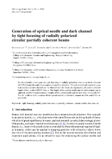 Generation of optical needle and dark channel by tight focusing of radially polarized circular partially coherent beams