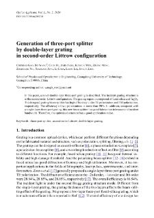 Generation of three-port splitter by double-layer grating in second-order Littrow configuration