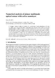 Numerical analysis of planar multimode optical sensor with active nanolayer