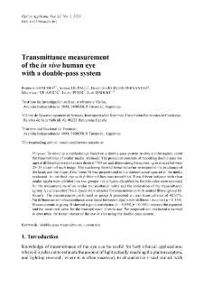 Transmittance measurement of the in vivo human eye with a double-pass system
