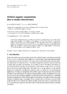 Orbital angular momentum due to modes interference