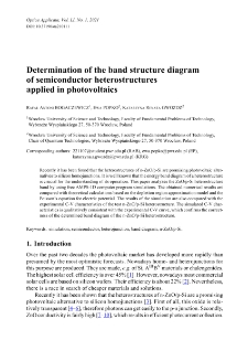 Determination of the band structure diagram of semiconductor heterostructures applied in photovoltaics