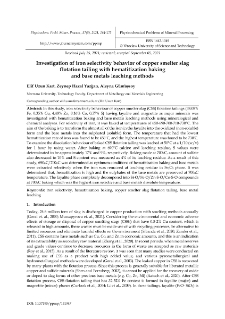Investigation of iron selectivity behavior of copper smelter slag flotation tailing with hematitization baking and base metals leaching methods