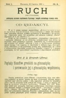 Ruch :  dwutygodnik, poświęcony sprawom wychowania fizycznego i w ogóle normalnego rozwoju ciała, 1906.06.26 R. 1 nr 4