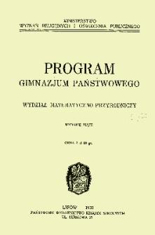 Program gimnazjum państwowego : wydział matematyczno-przyrodniczy