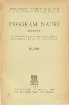 Program nauki (tymczasowy) w państwowym liceum ogólnokształcącym z polskim językiem nauczania : biologia