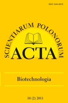 Acta Scientiarum Polonorum. Biotechnologia 2, 2011