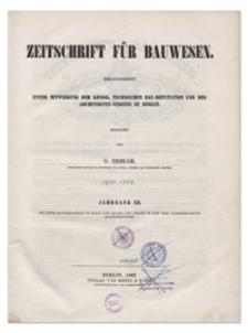 Zeitschrift für Bauwesen, Jr. XII, 1862, H. 1-3