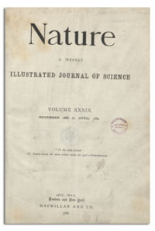 Nature : a Weekly Illustrated Journal of Science. Volume 39, 1888 November 15, [No. 994]