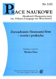 Prace Naukowe Akademii Ekonomicznej im. Oskara Langego we Wrocławiu, 2007, Nr 1152