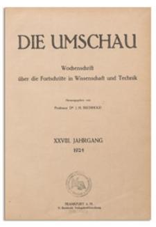 Die Umschau : Wochenschschrift über die Fortschritte in Wissenschaft und Technik. 28. Jahrgang, 1924, Heft 28