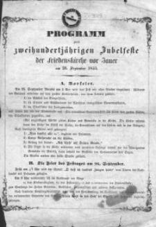 Programm zum zweihundertjährigen Jubelfeste der Friedenskirche von Jauer am 26. September 1855 / das Evangelisch-Lutherische Kirchen-Kollegium