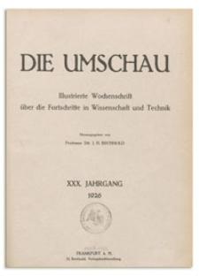 Die Umschau : Wochenschschrift über die Fortschritte in Wissenschaft und Technik. 30. Jahrgang, 1926, Heft 8