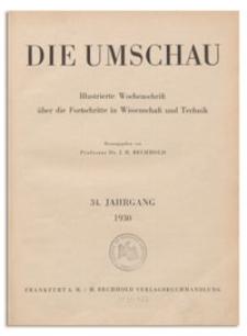 Die Umschau : Illustrierte Wochenschschrift über die Fortschritte in Wissenschaft und Technik. 34. Jahrgang, 1930, Heft 14