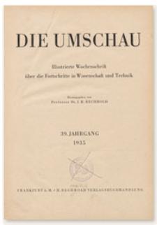 Die Umschau : Illustrierte Wochenschschrift über die Fortschritte in Wissenschaft und Technik. 39. Jahrgang, 1935, Heft 42