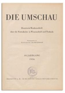 Die Umschau : Illustrierte Wochenschschrift über die Fortschritte in Wissenschaft und Technik. 40. Jahrgang, 1936, Heft 35