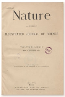 Nature : a Weekly Illustrated Journal of Science. Volume 72, 1905 May 18, [No. 1855]