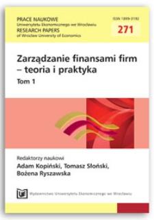 The impact of free cash flow on market value of firm. Prace Naukowe Uniwersytetu Ekonomicznego we Wrocławiu = Research Papers of Wrocław University of Economics, 2012, Nr 271, T. 1, s. 13-21