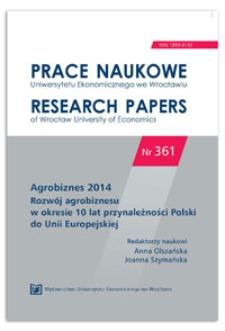 Wsparcie rolnictwa ekologicznego w Polsce w latach 2004-2013 i w perspektywie 2014-2020. Prace Naukowe Uniwersytetu Ekonomicznego we Wrocławiu = Research Papers of Wrocław University of Economics, 2014, Nr 361, s. 108-116