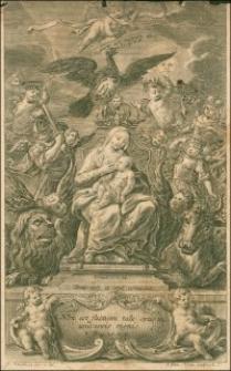 [Matka Boska na tronie karmiąca Dzieciątko otoczona przez putta uosabiające przymioty Mesjasza według proroctwa Izajasza]