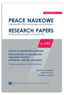 Różnorodność zasobów ludzkich – stan badań i wyzwania. Prace Naukowe Uniwersytetu Ekonomicznego we Wrocławiu = Research Papers of Wrocław University of Economics, 2014, Nr 349, s. 351-360