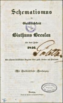 Schematismus der Geistlichkeit des Bisthums Breslau für das Jahr 1846