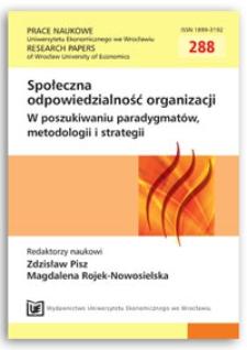 Zrównoważony rozwój i społeczna odpowiedzialność przedsiębiorstw jako fundamenty nowego modelu biznesowego. Prace Naukowe Uniwersytetu Ekonomicznego we Wrocławiu = Research Papers of Wrocław University of Economics, 2013, Nr 288, s. 11-21
