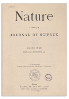 Nature : a Weekly Illustrated Journal of Science. Volume 122, 1928 August 25, [No. 3069]