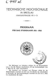 Programm für das studienjahr 1921-1922