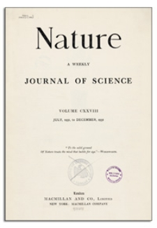 Nature : a Weekly Illustrated Journal of Science. Volume 128, 1931 November 14, [No. 3237]