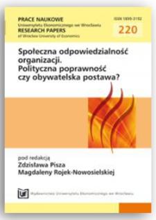 W kierunku kształtowania świadomej polityki społecznej odpowiedzialności uczelni wyższych. Prace Naukowe Uniwersytetu Ekonomicznego we Wrocławiu = Research Papers of Wrocław University of Economics, 2011, Nr 220, s. 234-247