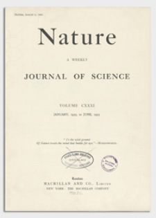 Nature : a Weekly Journal of Science. Volume 131, 1933 February 11, No. 3302