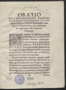 Oratio [...] Stanislai Carncowski [...] Comitiis Varsaviensibus Anno 1570 in Senatu habita, qua exponuntur et explicantur acta Legationis Gedansnsis
