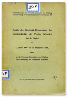Bericht des Provinzial-Konservators der Kunstdenkmäler der Provinz Schlesien über die Tätigkeit vom 1 Januar 1905 bis 31 Dezember 1906