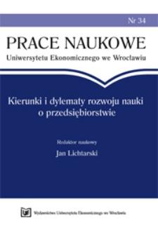 Prace Naukowe Uniwersytetu Ekonomicznego we Wrocławiu, 2008, Nr 34