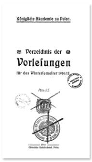 Verzeichnis der Vorlesungen für das Wintersemester 1916/17