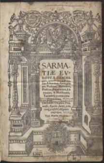 Sarmatiae Europeae Descriptio [...] Alexandi Gwagnini [...]