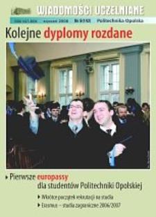 Wiadomości Uczelniane : pismo informacyjne Politechniki Opolskiej, nr 6 (142), styczeń 2006