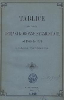 Trojaki koronne Zygmunta III od 1588 do 1624. Tablice