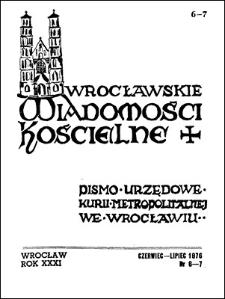Wrocławskie Wiadomości Kościelne. R. 31 (1976), nr 6/7