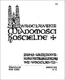 Wrocławskie Wiadomości Kościelne. R. 31 (1976), nr 12