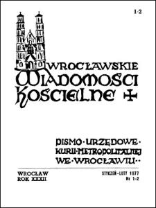 Wrocławskie Wiadomości Kościelne. R. 32 (1977), nr 1/2