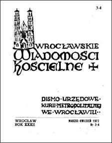 Wrocławskie Wiadomości Kościelne. R. 32 (1977), nr 3/4