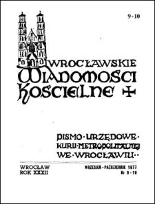 Wrocławskie Wiadomości Kościelne. R. 32 (1977), nr 9/10